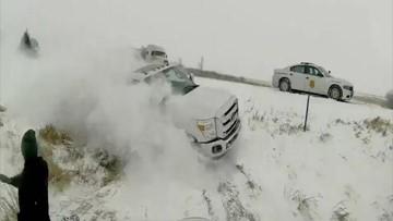 Frightening near-miss after truck skids off highway