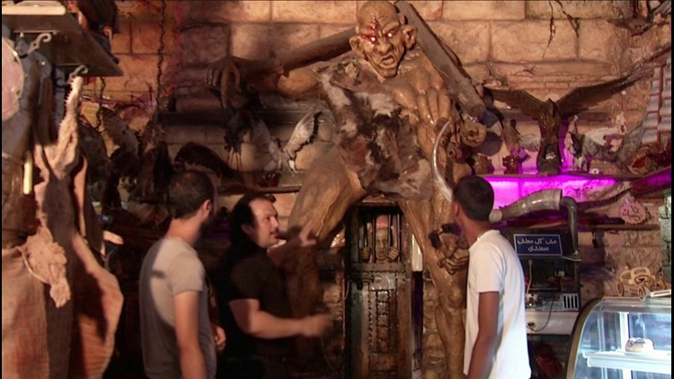 Egyptian Coffee House Features Array of Strange Sculptures & Art