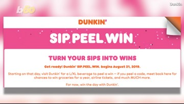 Dunkin' Brings Back 'Sip. Peel. Win.' Promotion, Giving Away Over $20 Million Worth of Prizes