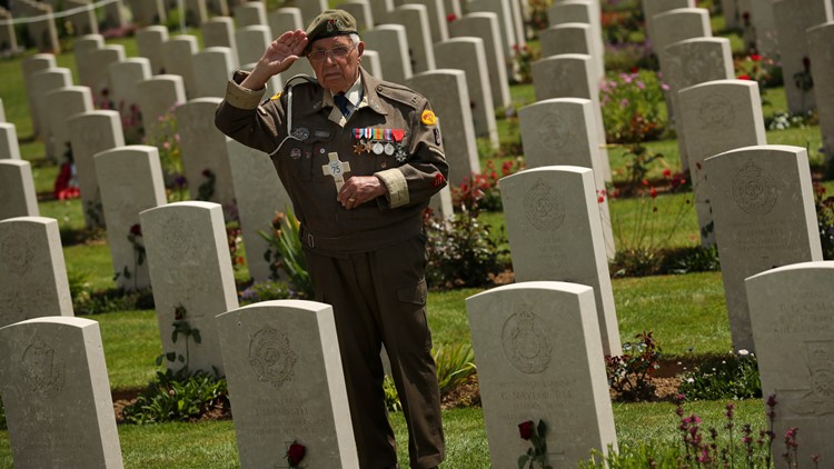 France D-Day Anniversary veteran at Normandy cemetery