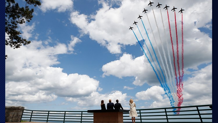 Trump D-Day 75 Years flyover Trump and Macron