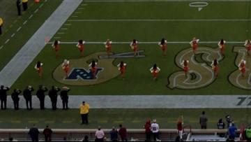 49ers cheerleader takes knee during national anthem