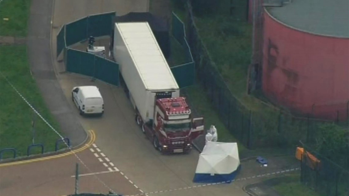 39 people found dead in truck container in England