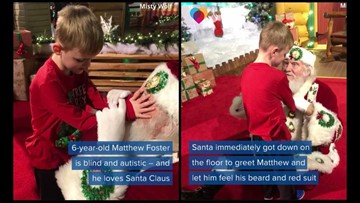 Blind boy, 6, who has autism 'sees' Santa for first time in the most magical encounter