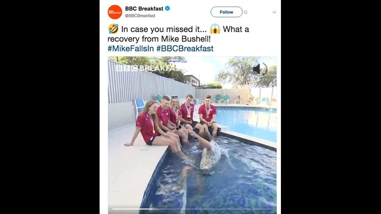 Commonwealth Games 2018: BBC presenter falls in pool during interview