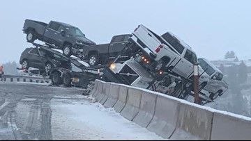 Semi nearly plunges into canyon during icy crash