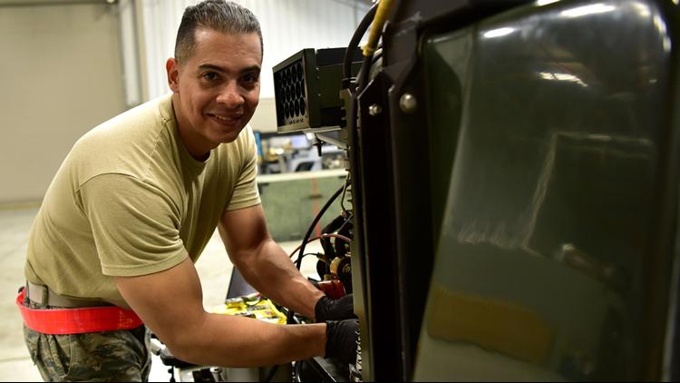 U.S. Air Force Airman 1st Class Moises Garrido, 19th Maintenance Squadron aerospace ground equipment apprentice