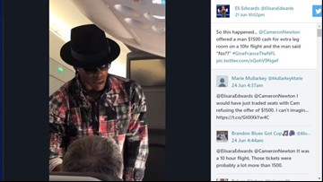 Man turns down Cam Newton's $1,500 offer to switch seats on flight to U.S. from Paris