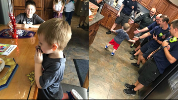 Fire department throws birthday party for NC boy after all but one of his guests cancel