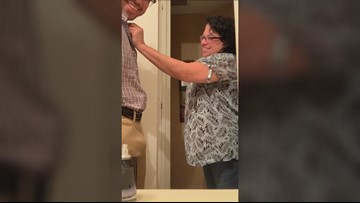 Donning his late father's shirt, son's surprise for his mom goes viral