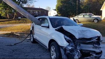 Pole impales car after North Carolina mom drops child off at school