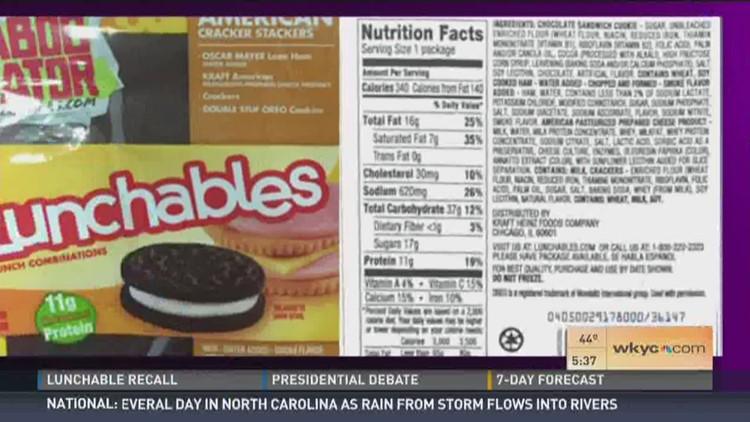 alert! Lunchables recalled | 13wmaz.com