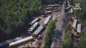 Aerial view of Houston County train derailment from Drone13