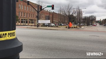 Raffield Tires in downtown Macon after overnight shooting