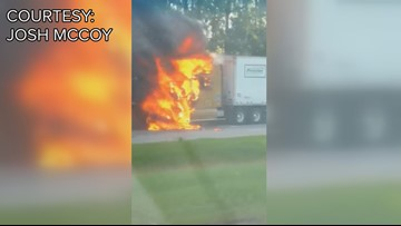 Tractor-trailer fire on I-16 westbound closes all lanes
