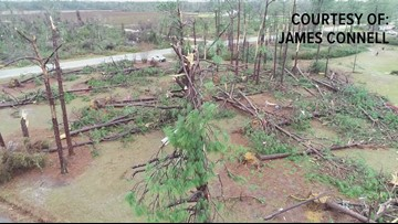 Ocilla storm damage from drone's eye view