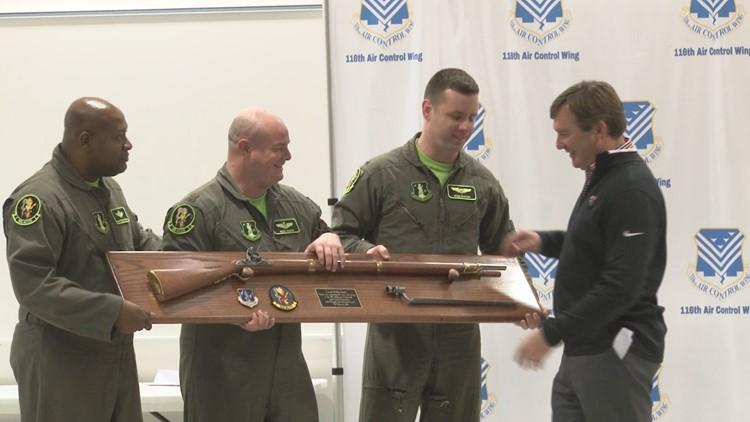 UGA football coach Kirby Smart visits Robins Air Force Base