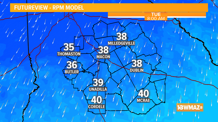 Tuesday Morning Low Temps