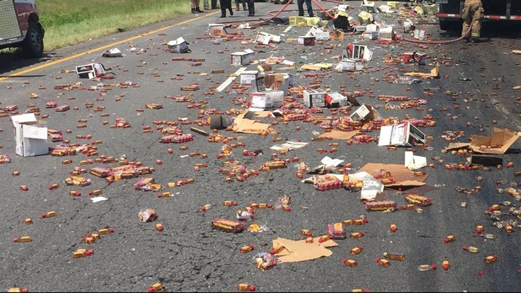 Truck crash scatters Fireball whiskey across Arkansas highway