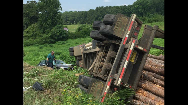 A log truck hit a car at the intersection of Jeffersonville Road and Riggins Hill Road. There were no fatalities reported.