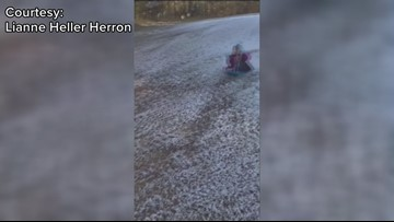 Perry family makes snow in their yard