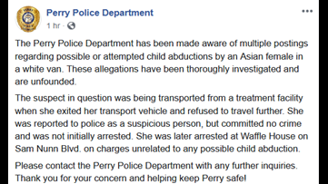 Perry, Warner Robins police dismiss rumors about attempted child abductions in white van