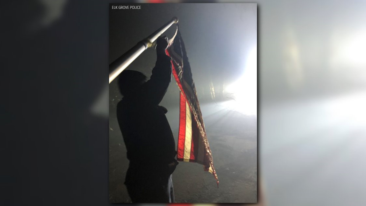 Police find American flag in 'almost perfect condition' among homes destroyed by Camp Fire