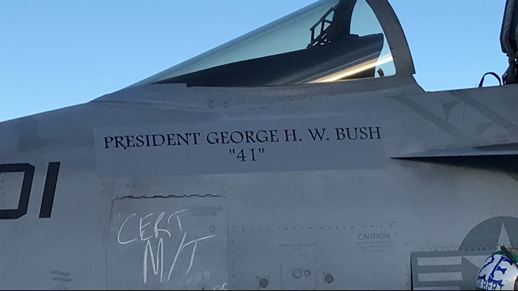 Oceana-based squadrons flew over President Bush's funeral