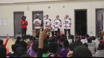 Macon Mayhem players encourage healthy activity with Houston Co. students
