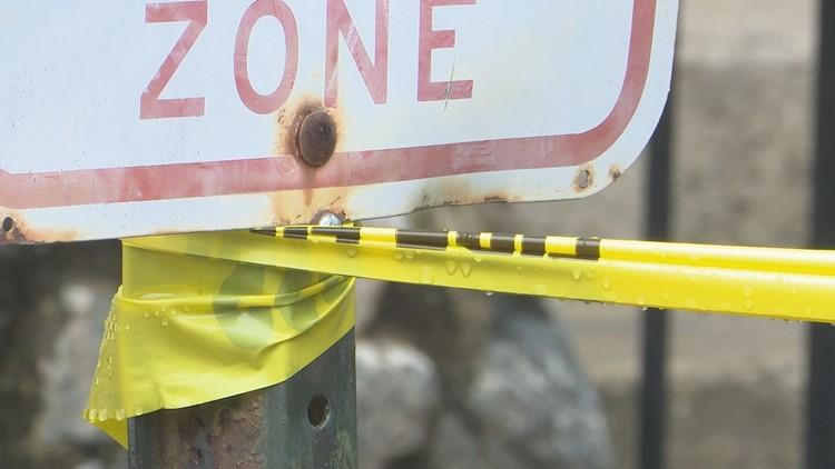caution tape at Crystal Lake Apartments