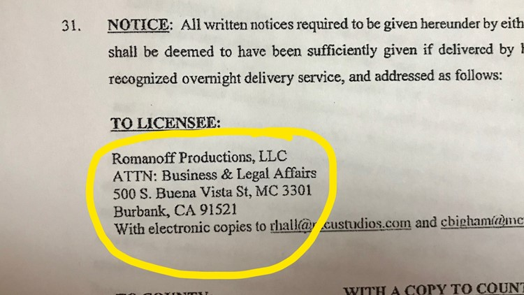 Romanoff Productions shares an address with Disney Studios