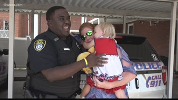 Perry officer gives toddler stuffed animal