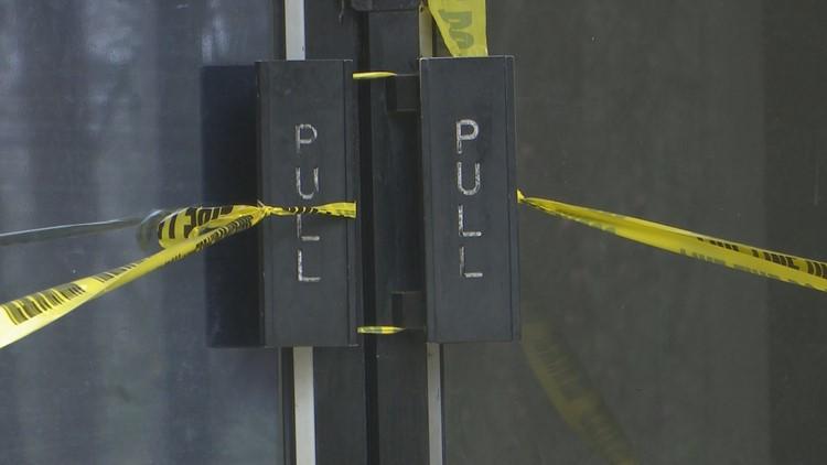 doors taped shut at crystal lake apartments