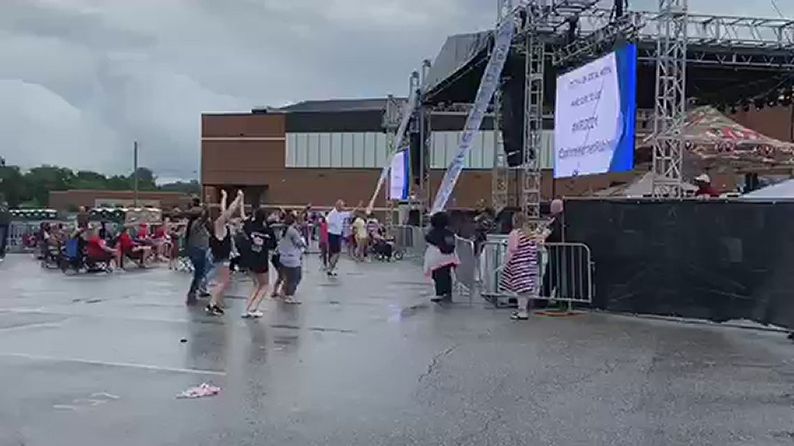 13WMAZ's Frank Malloy dances at the Warner Robins Independence Day Celebration