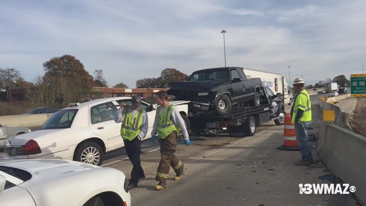 Traffic after accident on I-16 East