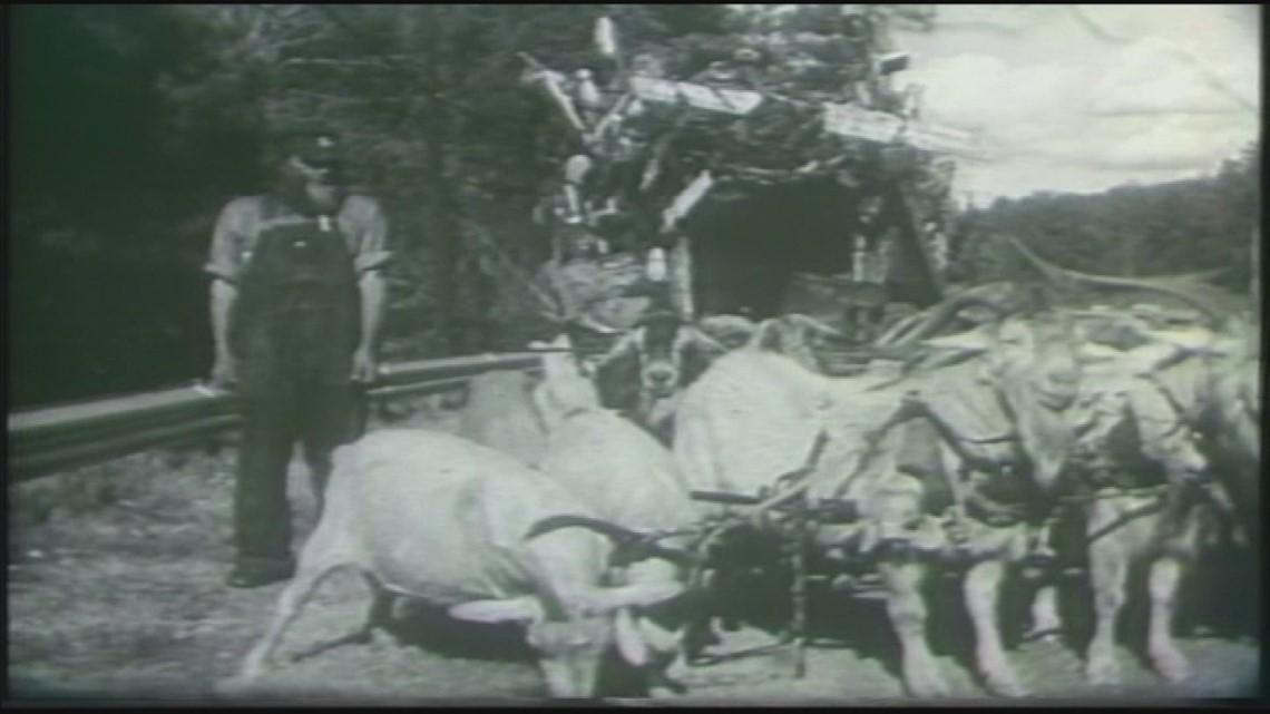 The Goat Man prepares for cross-country trek (1961)