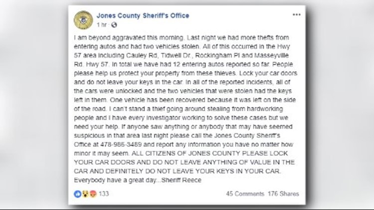 Jones County Sheriff reporting high number of car break-ins, two stolen cars