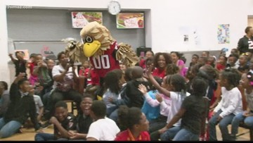 Atlanta Falcons mascot promotes healthy lifestyles at Cirrus Academy in Macon