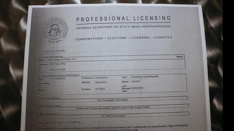 The Cedar Ridge Cemetery license expired more than a decade ago
