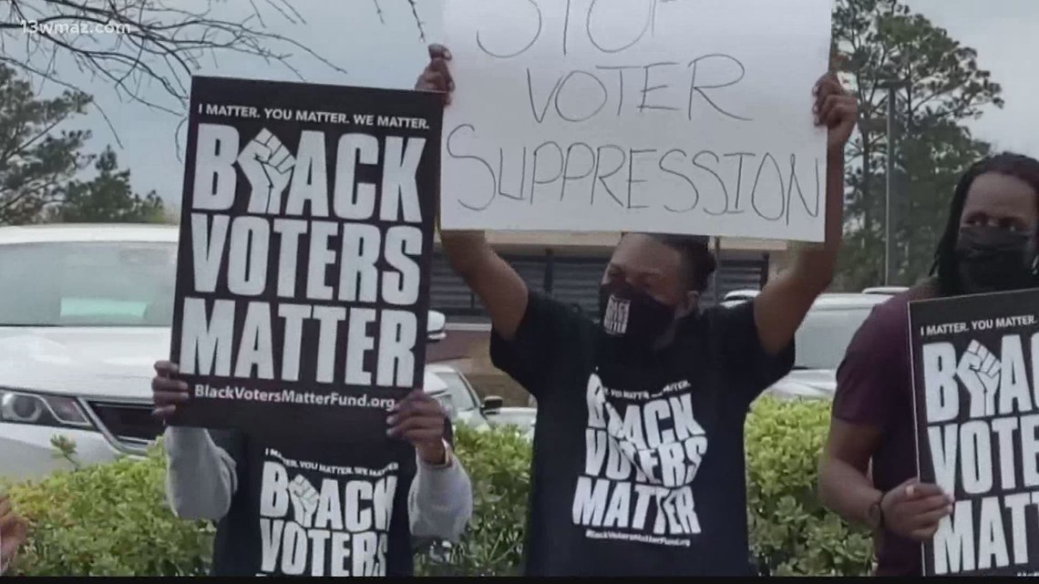 Central Georgia groups protest against the state's new voting law
