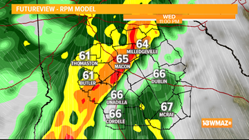 Warm for Wednesday afternoon before rain and a few storms arrive Wednesday evening