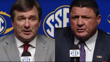 Kirby Smart and Ed Orgeron meet ahead of SEC championship game