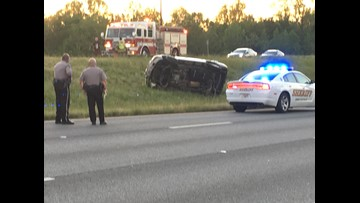 Car flips in south Macon after driving the wrong way