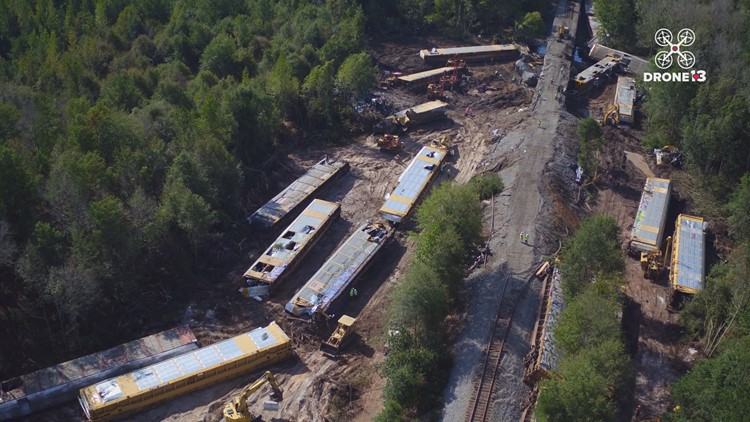 Drone view of train