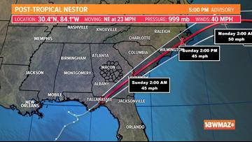 Nestor dissipates, no longer a threat