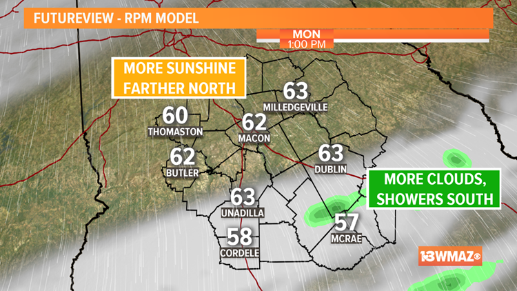Some sunshine for Monday afternoon, back to cloudy and cool for Tuesday
