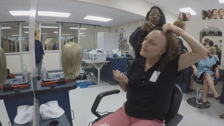 Houston County cosmetology students make wigs for teacher with cancer