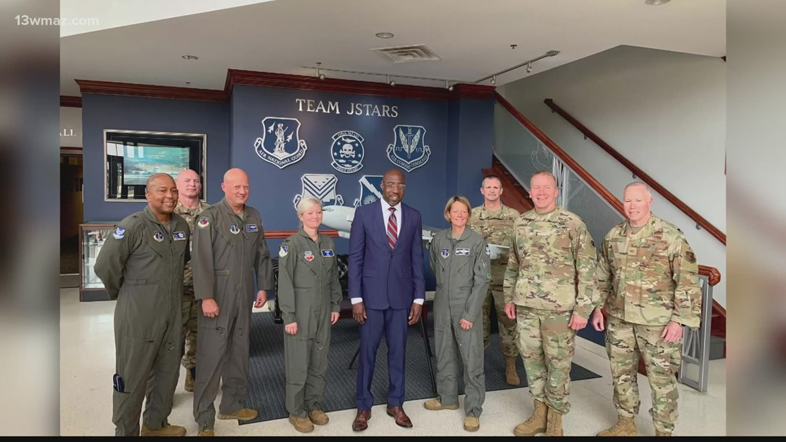 Georgia Senator Raphael Warnock visits Robins Air Force Base during statewide tour stop
