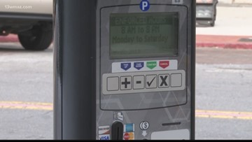 Downtown Macon parking meters in the red