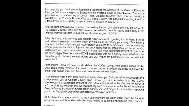 Propst's written reprimand 08/15/2014